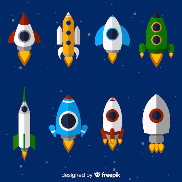 Belle collection de vaisseaux spatiaux avec un design plat Vecteur gratuit
