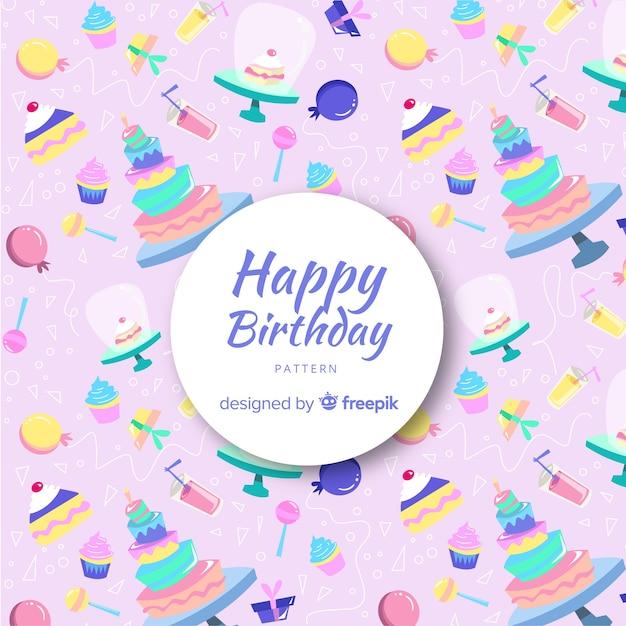 Belle composition d'anniversaire avec style coloré Vecteur gratuit