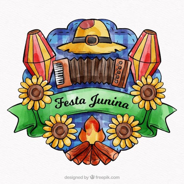 Belle composition de l'aquarelle festa junina Vecteur gratuit