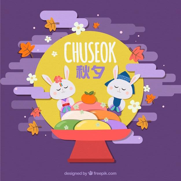 Belle composition de chuseok avec style dessiné à la main Vecteur gratuit