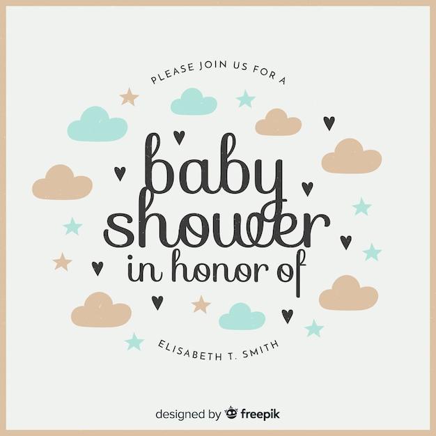 Belle composition de douche de bébé avec un design plat Vecteur gratuit