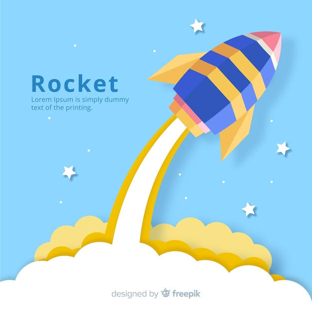 Belle composition de fusée spatiale avec un style origami Vecteur gratuit