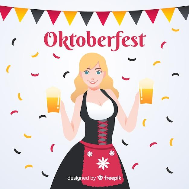 Belle composition oktoberfest avec un design plat Vecteur gratuit