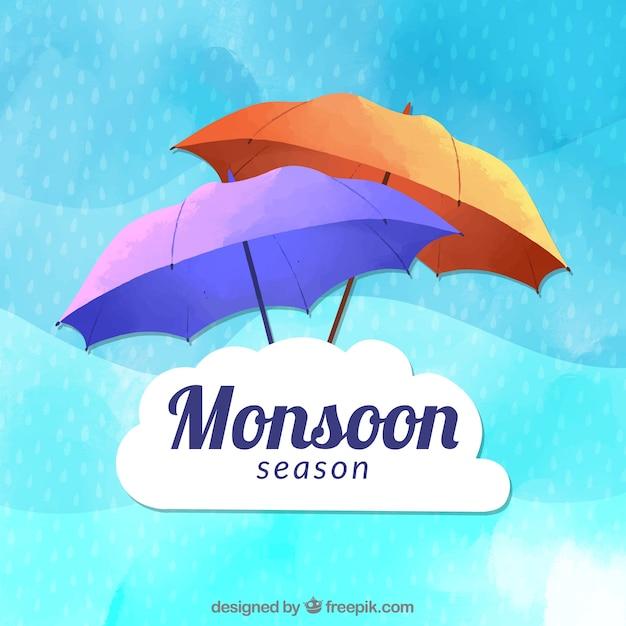 Belle composition de saison de mousson dessinés à la main Vecteur gratuit