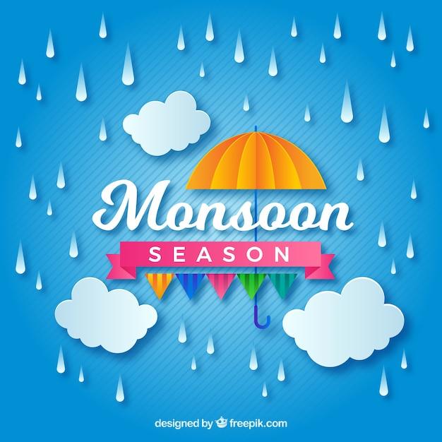 Belle composition de la saison de la mousson avec le style orgami Vecteur gratuit