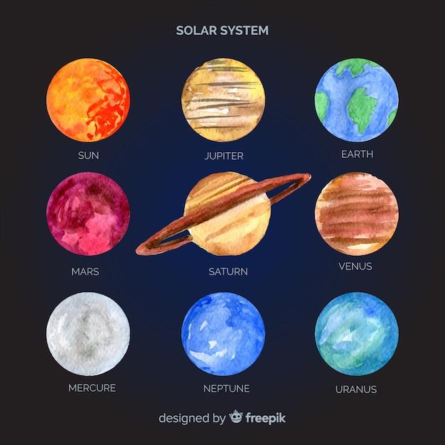Belle composition de système solaire aquarelle Vecteur gratuit