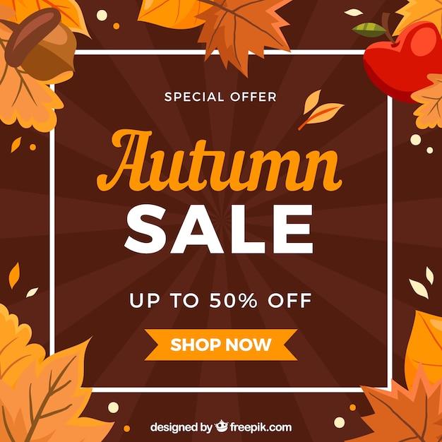 Belle composition de vente automne avec un design plat Vecteur gratuit