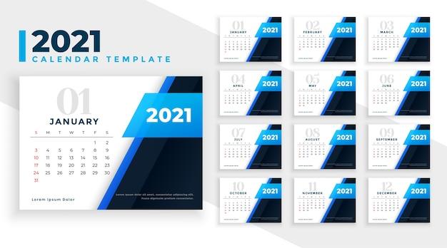 Belle Conception De Calendrier Du Nouvel An 2021 Dans Le Thème De La Couleur Bleue Vecteur gratuit