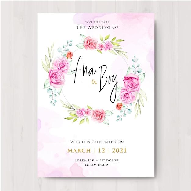 Belle conception de carte de mariage floral Vecteur Premium