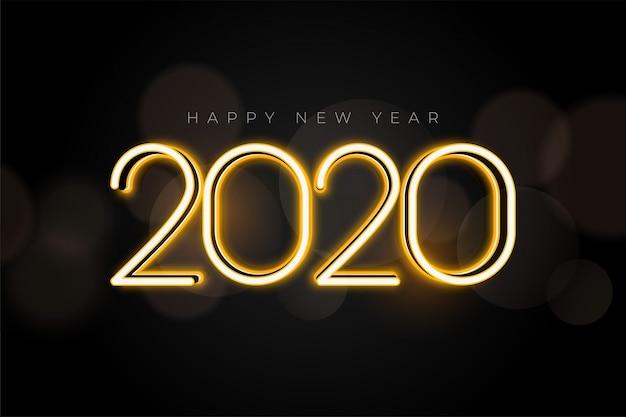 Belle Conception De Carte De Voeux De Lumières Du Nouvel An 2020 Vecteur gratuit