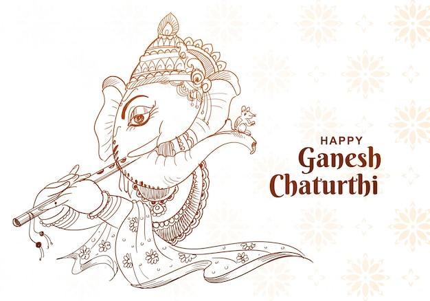 Belle Conception De Cartes Art Croquis Ganesh Chaturthi Vecteur gratuit