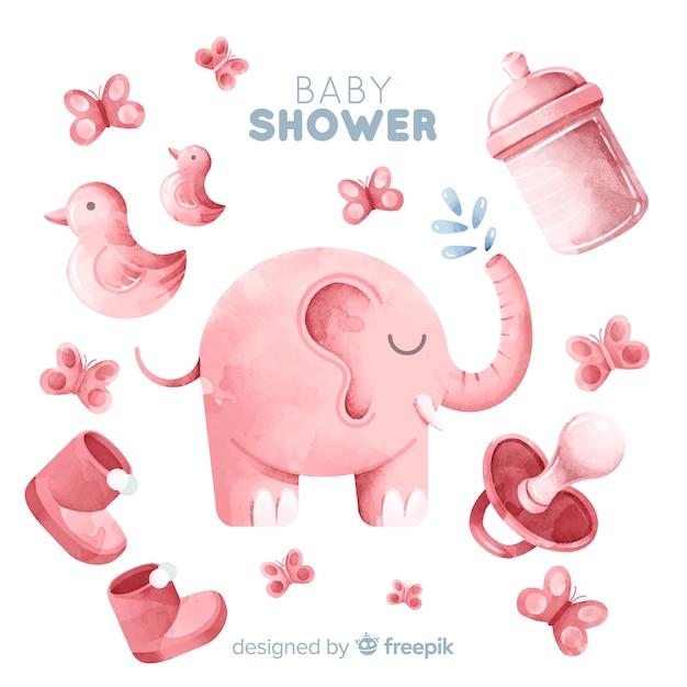 Belle conception de douche de bébé aquarelle Vecteur gratuit
