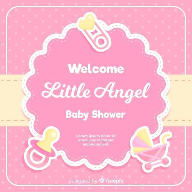 Belle conception de douche de bébé Vecteur gratuit