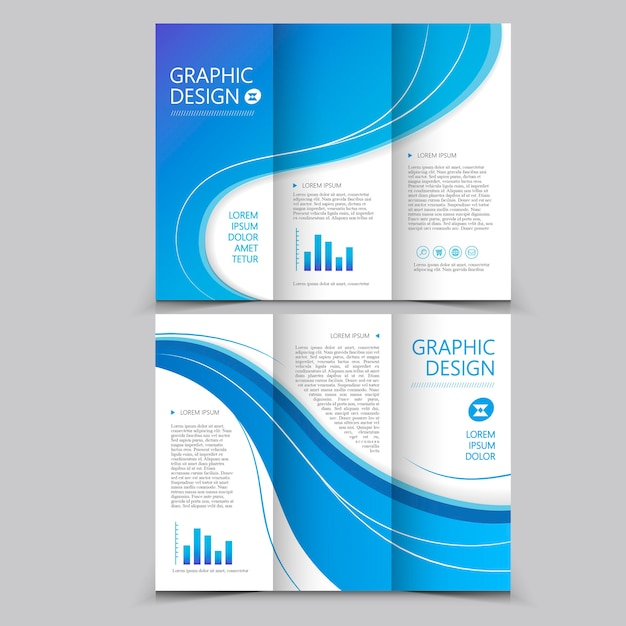 Belle Conception De Modèle De Brochure à Trois Volets Avec Des éléments De Vague Vecteur Premium
