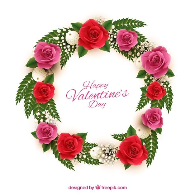 Belle couronne avec des fleurs rouges et roses pour saint valentin t l char - Saint valentin fleurs ...