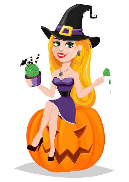 Belle dame sorcière Vecteur Premium