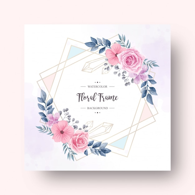 Belle Décoration De Fleurs à L'aquarelle Avec Cadre Doré Vecteur Premium