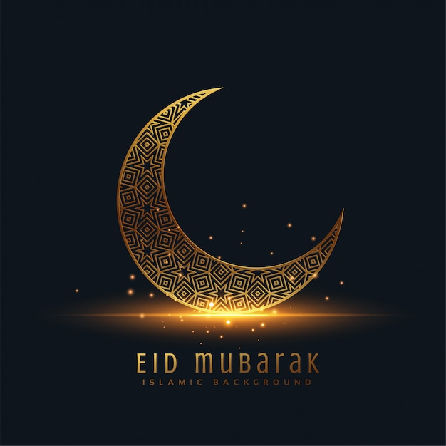 Belle eid mubarak salutation de lune décorative d'or Vecteur gratuit