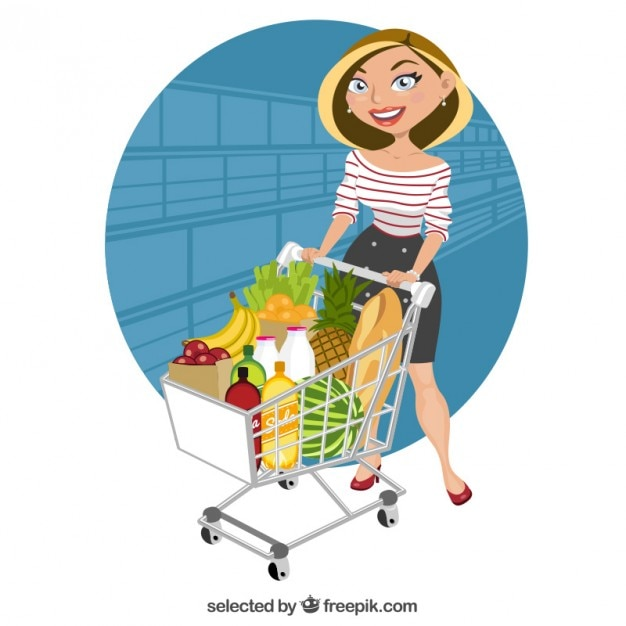 Belle femme au supermarché Vecteur gratuit