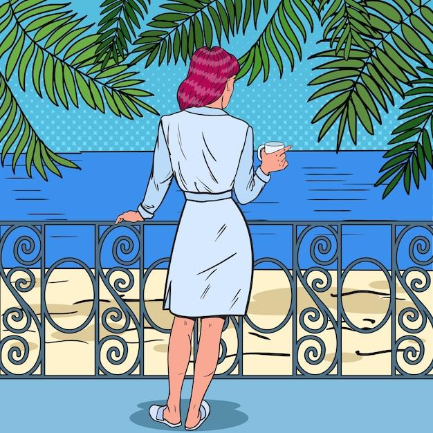 Belle Femme Buvant Du Café Vecteur Premium