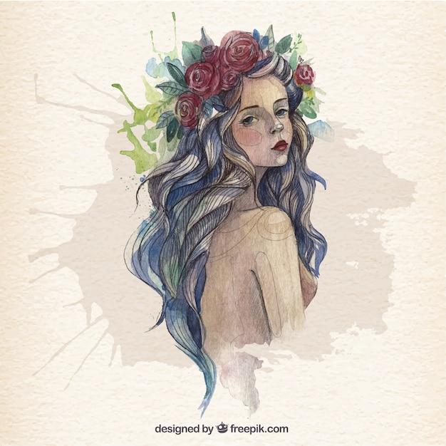 Belle Femme Dans Le Style D'aquarelle Vecteur gratuit