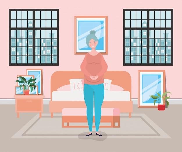 Belle femme enceinte dans la scène de la chambre Vecteur gratuit