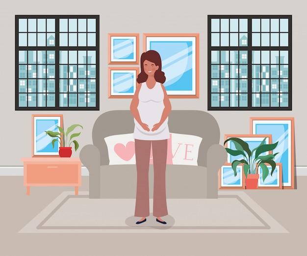 Belle femme enceinte dans la scène du salon Vecteur gratuit