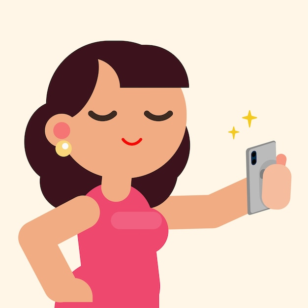 Belle femme heureuse souriant prenant selfie avec smartphone, plate illustration vectorielle. Vecteur Premium