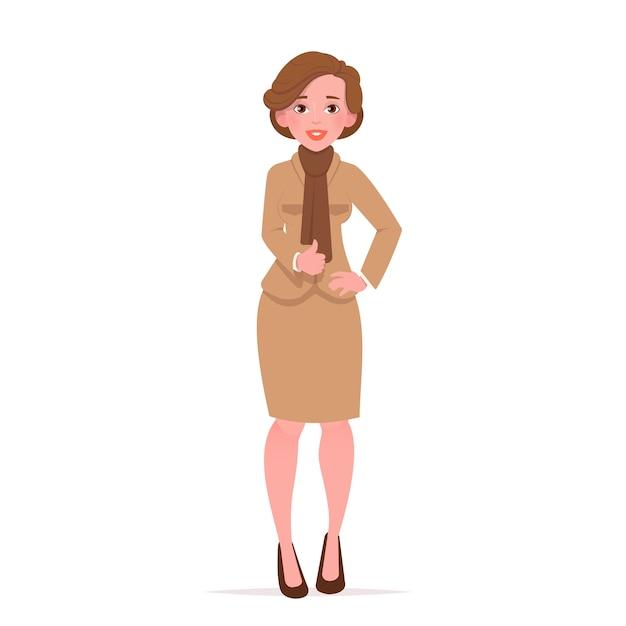 Belle Femme Montrant Le Geste Du Pouce Vers Le Haut. Vecteur Premium
