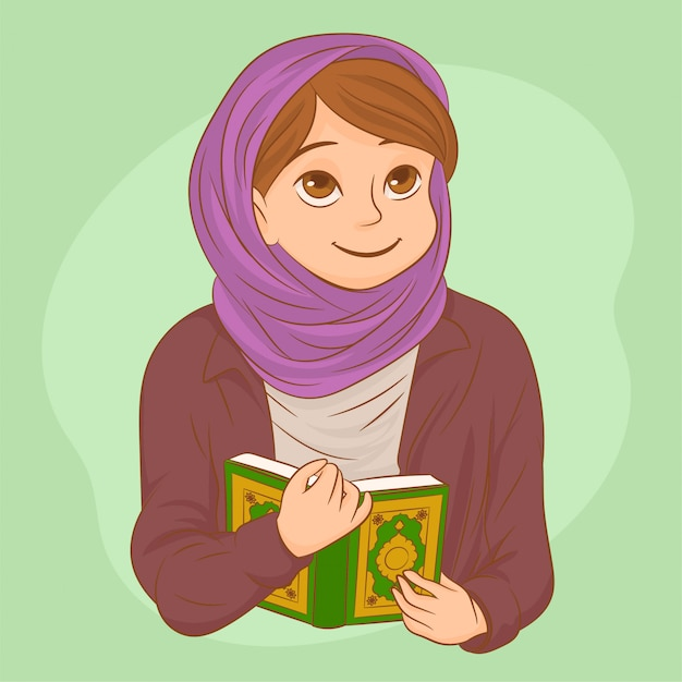 Belle femme musulmane avec hijab en prière Vecteur Premium