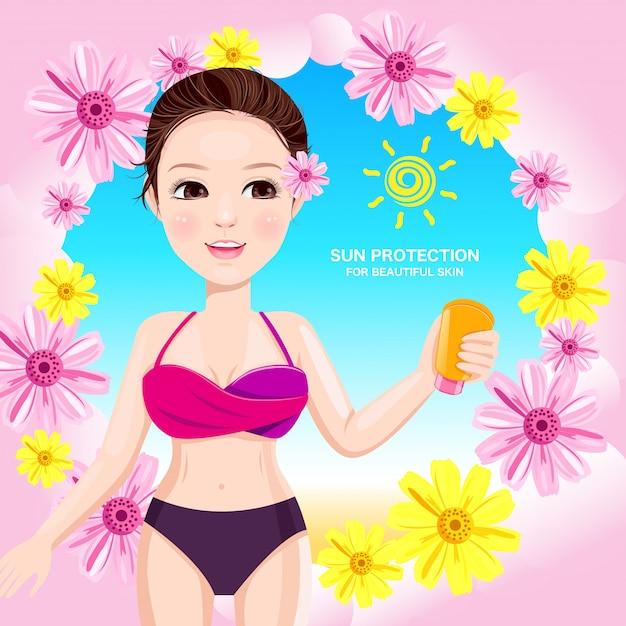 Belle femme avec protection corps soleil Vecteur Premium