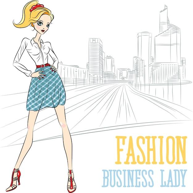 Belle Fille D'affaires De Mode Sur La Rue De La Ville à Paris, La Défense Vecteur Premium