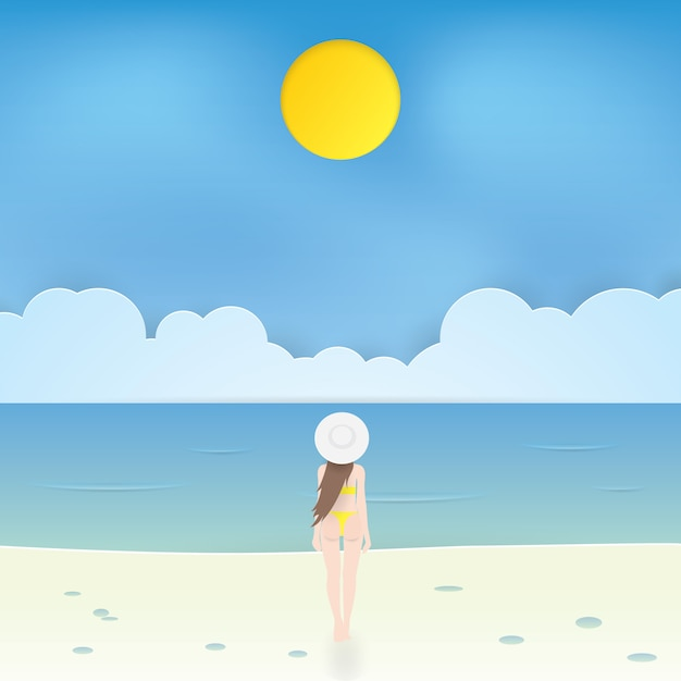 Belle fille en bikini marchant sur la plage, vecteur de l'artisanat Vecteur Premium
