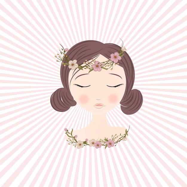Belle fille avec des fleurs délicates dans les cheveux Vecteur Premium