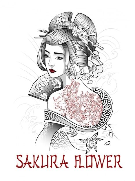 Belle Fille Japonaise Avec Un Tatouage De Dragon Sur Le Dos Vecteur Premium