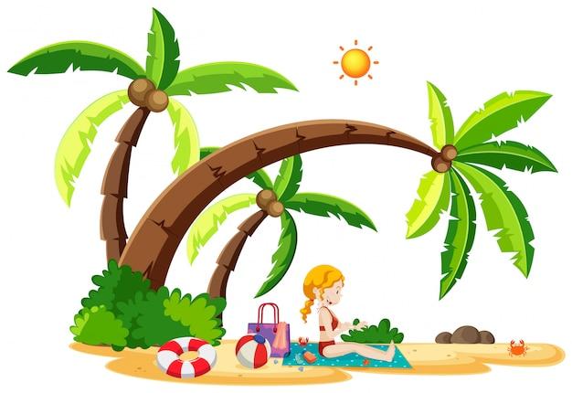 Belle fille à la plage Vecteur gratuit