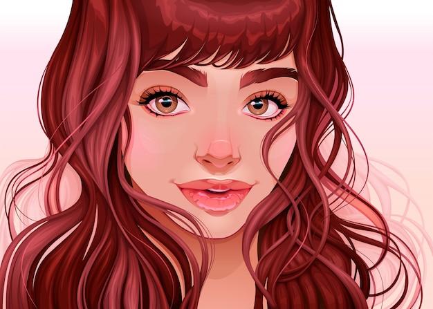 Belle fille en regardant le spectateur, illustration vectorielle Vecteur Premium