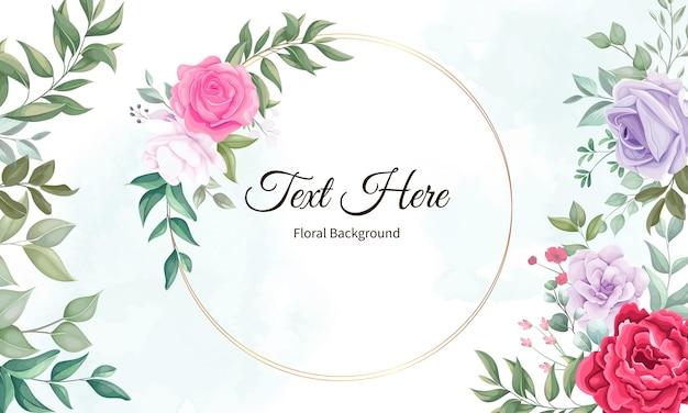 Belle Fleur En Fleurs Et Fond De Feuilles Vecteur gratuit