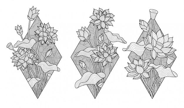 Belle fleur de lotus monochrome Vecteur Premium