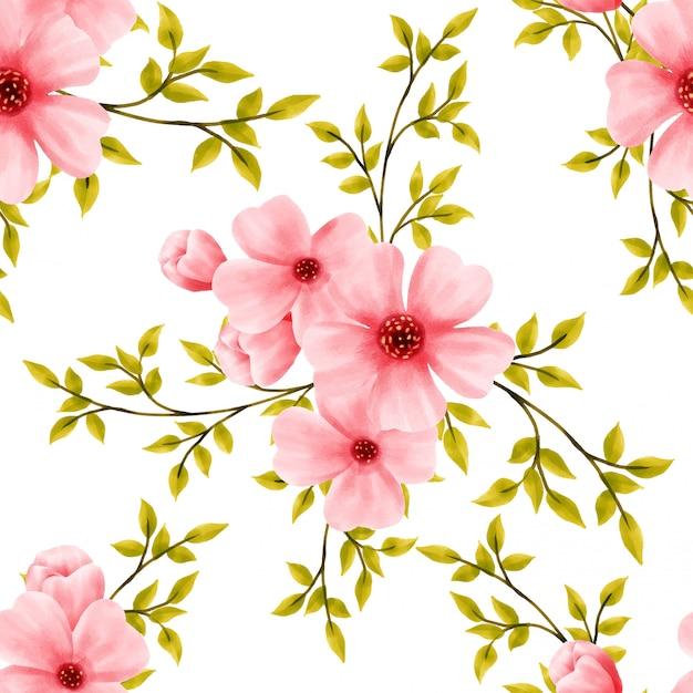 Belle fleur modèle aquarelle fleur floral Vecteur Premium