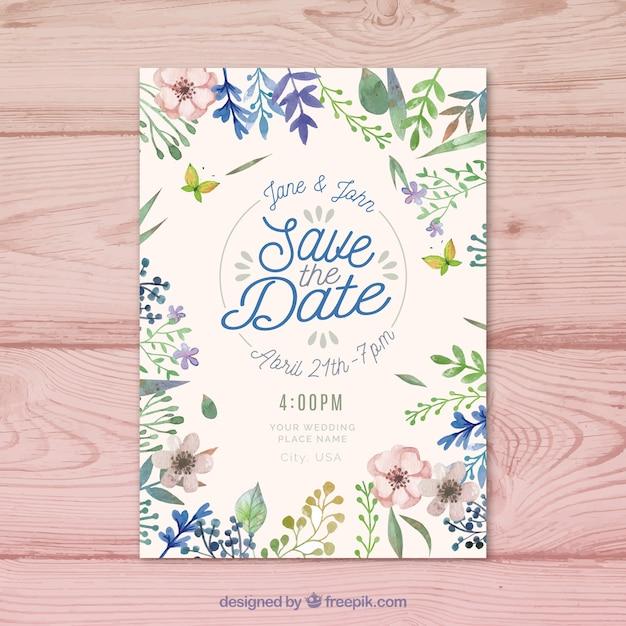 Belle floral sauvez l'invitation de date dans le style aquarelle Vecteur gratuit