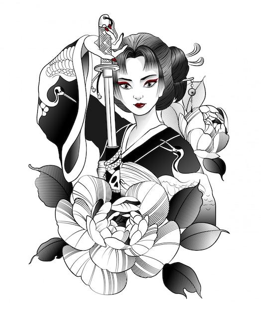 Belle geisha japonaise avec épée à la main Vecteur Premium