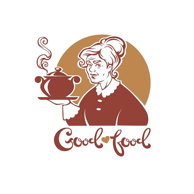 Belle Grand-mère Tenant Un Pot Vecteur Premium