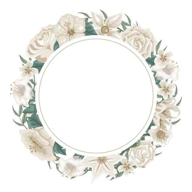 Belle Guirlande De Fleurs Et De Roses Blanches Pour La Dédicace Vecteur Premium
