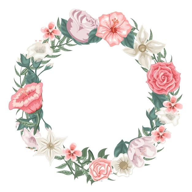 Belle Guirlande De Roses, De Tulipes Et De Fleurs Différentes Vecteur Premium