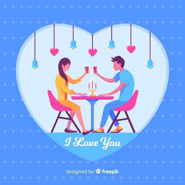 Belle illustration d'un couple en train de dîner ensemble Vecteur gratuit