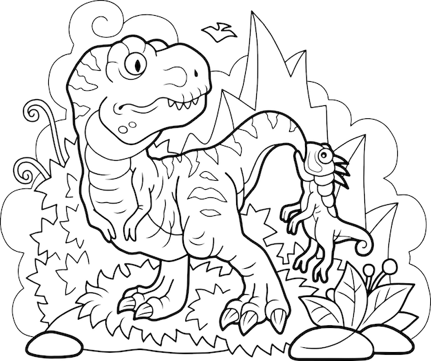 Belle Illustration De Dinosaures Mignons Drôles Vecteur Premium