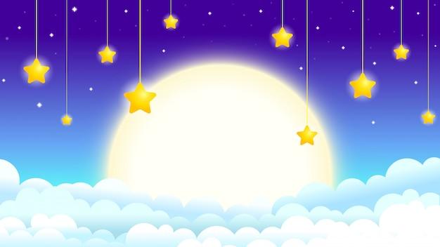 Belle illustration du ciel nocturne avec la lune et les étoiles, lune dans les nuages avec les étoiles suspendues Vecteur Premium