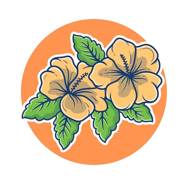 Belle Illustration De Fleur De Jasmin. Concept De Logo De Jasmin. Logo De Mascotte De Fleur De Jasmin. Style De Dessin Animé Plat. Vecteur Premium