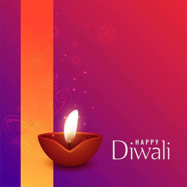Belle illustration de la gravure de diwali diya Vecteur gratuit